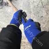 Голубое Nylon экстренный выпуск составило связанные работая перчатки, покрынные с черным ровным нитрилом на ладони (N1575)