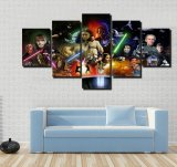 A pintura da arte da parede retrata o poster de filme impresso lona de Star Wars 5 partes para casa da decoração para a arte -final moderna de Cuadros da sala de visitas