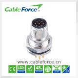 M12 8-контактный гнездовой разъем для установки на панели передней прикреплен круглый разъем с проводами