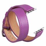 Cinturino di lusso del cuoio genuino di giro del doppio del Brown di vendita calda per il cinturino del Apple