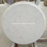 Tapa blanca artificial de la mesa redonda del cuarzo de Carrara