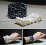 elastische schwarze flache Perlen-Armband-Schmucksachen der Form-5rows Form kultivierte