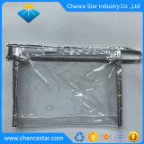 Tissu d'argent personnalisé bords PVC sac en plastique transparent à fermeture éclair