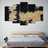 Het frame Spel van Af:drukken HD 5PCS van de Kunst die van de Muur van het Canvas van Tronen het Moderne Schilderen van het Canvas van het Af:drukken van het Beeld van de Kunst van de Muur van het Decor van het Huis schilderen