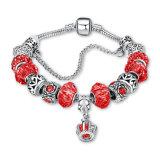 Joyería ajustable roja de la pulsera de los granos de cristal del regalo DIY de la Navidad de la manera
