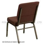 교회 의자를을%s 가진 겹쳐 쌓이는 교회 가구 브라운 직물은 버클과 책 주머니를 연결한다