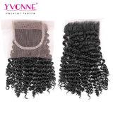 Trasporto libero 3bundles dei capelli di Yvonne dei capelli crespi brasiliani all'ingrosso dell'arricciatura e chiusura