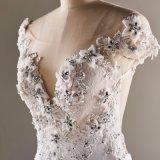 Vestido nupcial de cristal de vestido de casamento da sereia do Applique da venda quente