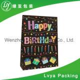 Bolsas de papel impresas respetuosas del medio ambiente modificadas para requisitos particulares del feliz cumpleaños para el regalo del embalaje