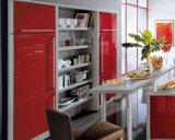 빨간색 높은 광택 래커 호화스러운 부엌 찬장 디자인