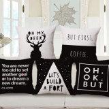 Katoenen van het huis het TextielLinnen Geweven Afgedrukte Geval van het Hoofdkussen voor Koffie (35C0220)