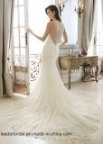 Bördeln der Abend-Kleider Sleevless Spitze-Nixe-Hochzeits-Kleider C2701