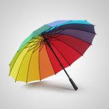 Зонтик дождя гольфа 16K радуги напольный прямой для промотирования