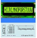 Schrifttyp LCD-Baugruppe Stce16100 mit Hintergrundbeleuchtung