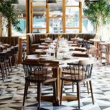(SD3020) Restaurante Café moderno em madeira escura com mesas e cadeiras