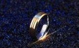 El intervalo de 6,0 mm de alta calidad de acero inoxidable de oro para los hombres el anillo de compromiso de Boda Elegantes hombres Anel