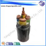 Yjv32 3+1 сердечники XLPE изолировали обшитый PVC тонкий силовой кабель стального провода Armored
