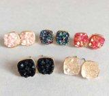 De Natuurlijke Steen van de gouden-Toon van de Juwelen van de manier Dame Stud Earrings