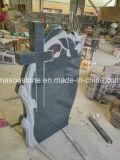 Albero grigio scuro del granito che intaglia con il Headstone trasversale dei memoriali