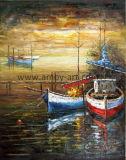 壁の装飾のためのパレットナイフのボートおよび船の油絵