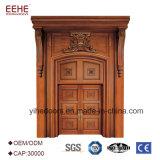 Portello esterno intagliato mano della doppia entrata di legno del foglio