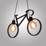 Lampe pendante de fer de forme de bicyclette de noir de modèle moderne de restaurant