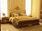 Festes Holz-Hand der dunklen Farben-0050 geschnitzt, den Entwurf Goldin der klassischen Bett-Raum-Ansammlung verfolgend