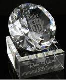 Diamant de verre cristal avec l'impression de sablage ou de couleur