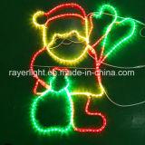 LEDのモチーフは煙突ライト屋外のクリスマスの装飾でスタックするサンタをつける