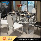 現代ステンレス鋼の家具の黒の大理石の宴会表