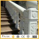 Balustre de marbre blanc en pierre de pêche à la traîne de granit avec surface ciselée/balayée