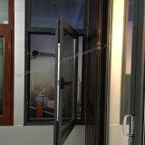 Ventana de aluminio revestida del marco de la potencia gris de la arena con el vidrio Tempered
