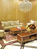 Mano di legno solido di colore scuro 0050 intagliata seguendo il disegno in cuoio dell'oro o sofà classico del tessuto