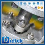 Robinet à tournant sphérique pneumatique à flasque commandé par engrenage de 3 voies d'essai de Didtek 100%