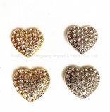 Heart-Shaped Ligas metálicas Diamond-Studded Botões de costura, acessórios de moda e acessórios de vestuário, , usada para vestuário de moda