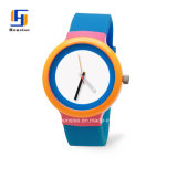 Ronda de la moda simple reloj de silicona con caja de plástico
