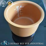 遅い炊事道具のためのふたが付いているブラウンの陶磁器の内部の鍋