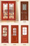 Portello di legno scorrevole personalizzabile di stile europeo doppio con vetro (YH-6002)