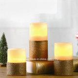 Dekoratives LED-flammenloses Kerze-Hanf-Innenseil wickelte Pfosten-Wachs-Kerzen ein