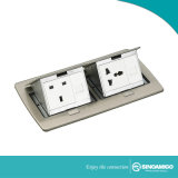 Piso de madera toma de corriente eléctrica con dos módulos Pop up