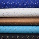 Linha couro de empacotamento decorativo artificial Textured do ouro do Weave do plutônio