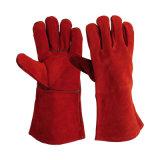 Gants de soudure en cuir de suède de couleur rouge ignifuges