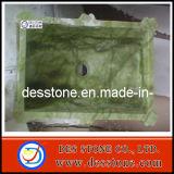 Fregaderos verdes naturales del cuarto de baño del mármol del jade