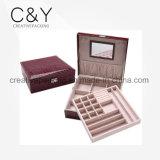 Caixa de armazenamento de couro da jóia do plutônio do estilo requintado de Fashional