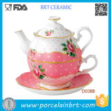 Pink & White Luxurious Gold Banding Tea Pot e Tea Cup Tea Set