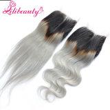 Fechamento brasileiro reto do laço do cabelo de Ombre 1b/Grey com parte média