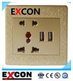 De Contactdoos van de Muur van Excon met Dubbele Contactdoos USB