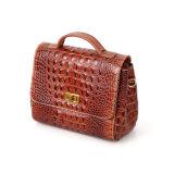 Le sac d'emballage le plus neuf d'épaule de cuir d'impression de Brown Croc de bonne qualité de modèle pour des dames