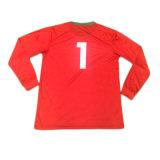 赤いカスタムロゴの昇華によってスリーブを付けられるサッカーのジャージーのスポーツ・ウェアのTシャツ