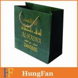 Bolso de compras de papel negro impreso insignia de encargo de lujo/bolsa de papel